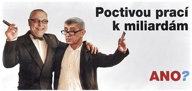 Babiš a Bakala na billboardu