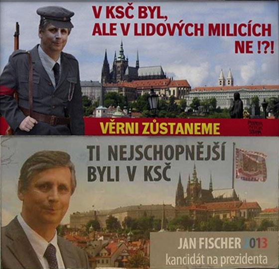 Jan Fischer - negativní billboard útočící na jeho členství v KSČ