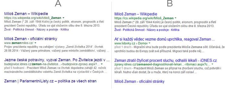 google rozdíly ve vyhledávání na prvních pozicích