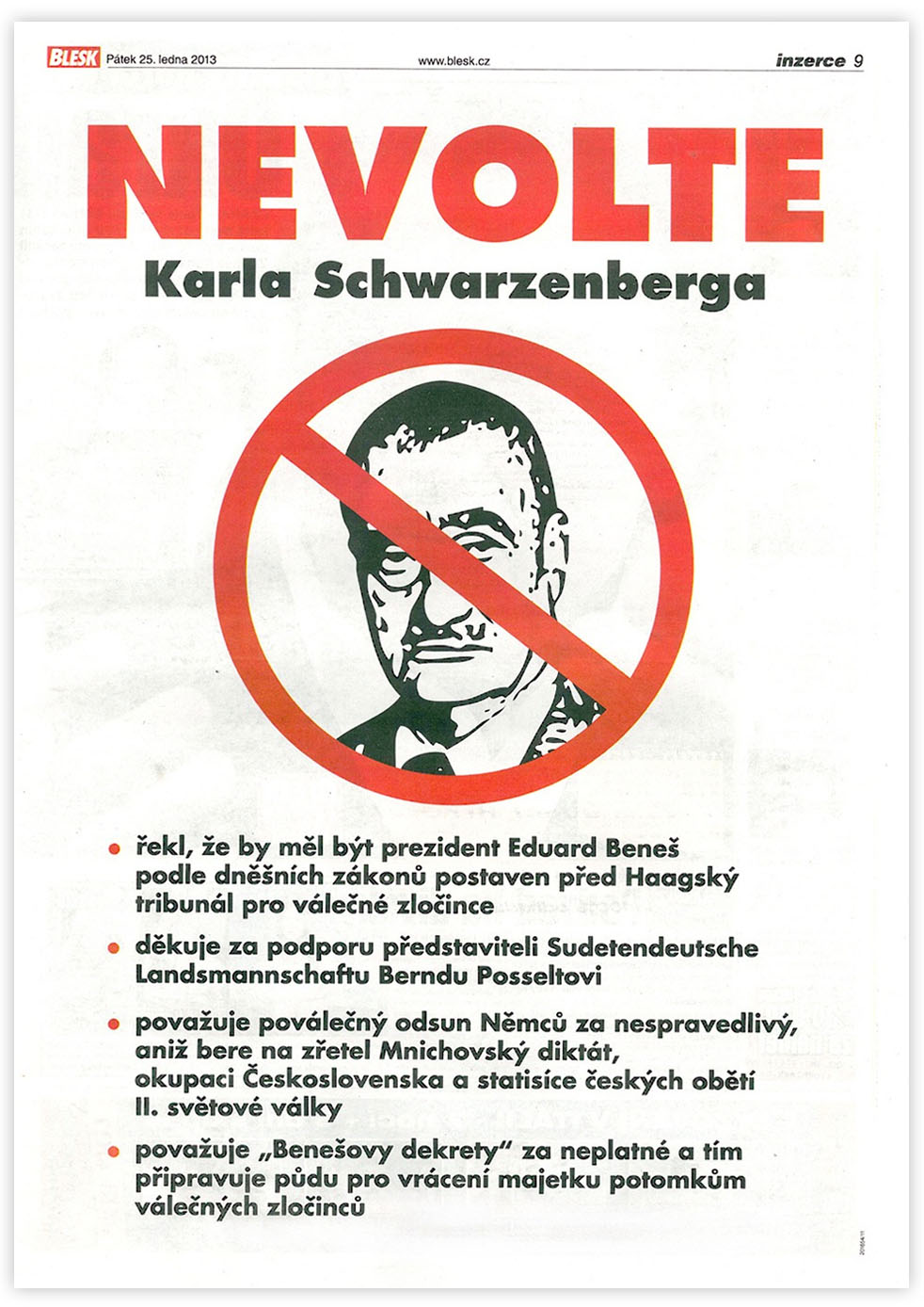 Nevolte Karla Schwarzenberga - negativní reklama