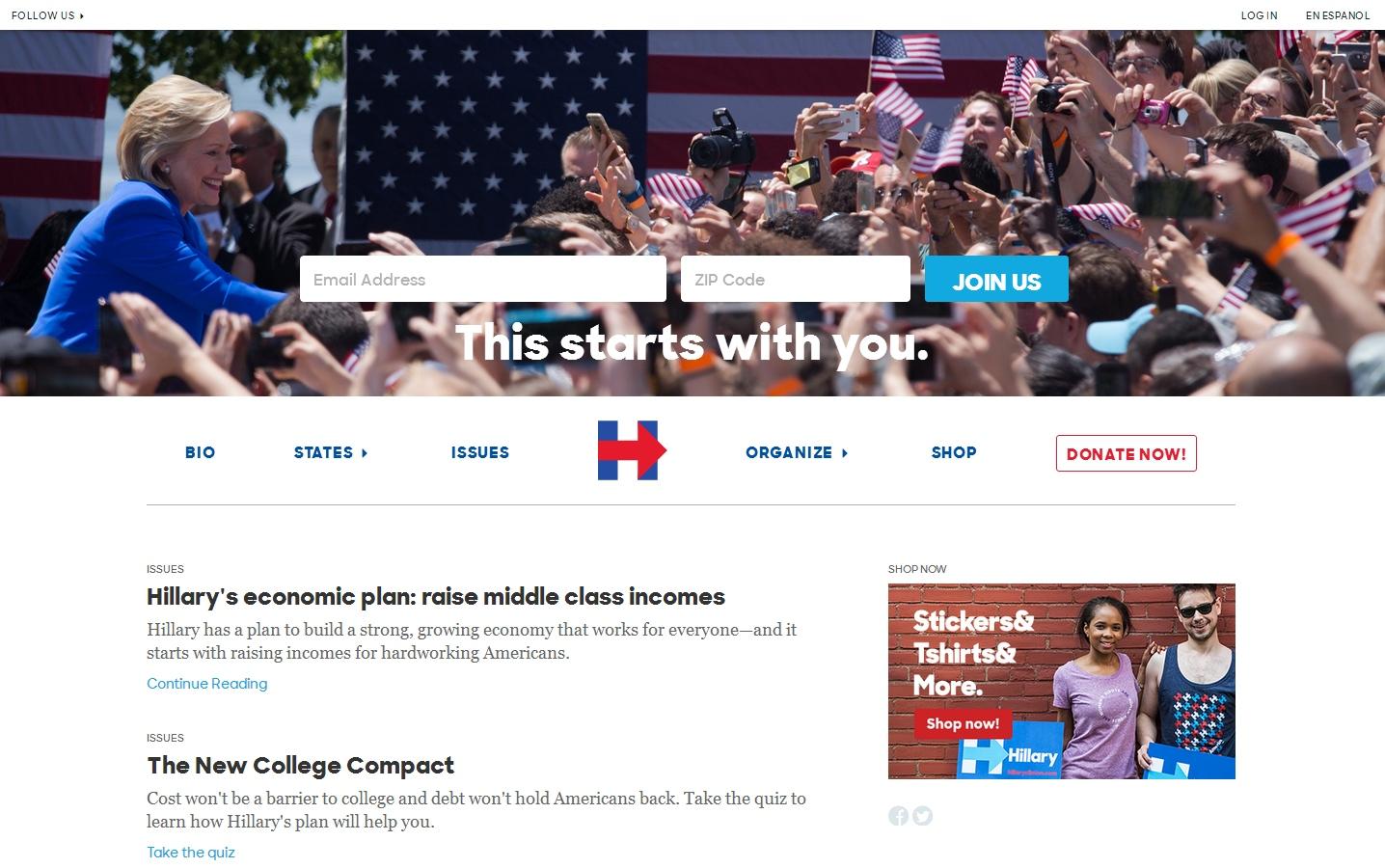 Hillary Clinton fundraising web